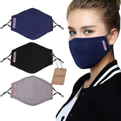 #8. Aniwon 3 Pack Anti-Dust 6-Pcs Activated Carbon Filter Cotton Mouth Mask Adjustable Straps