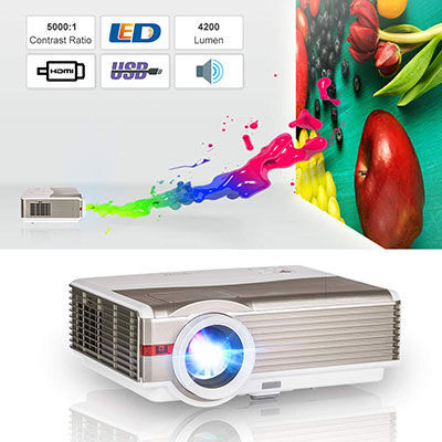 5. EUG HDMI Projector 4200 Lumen for Game Consoles