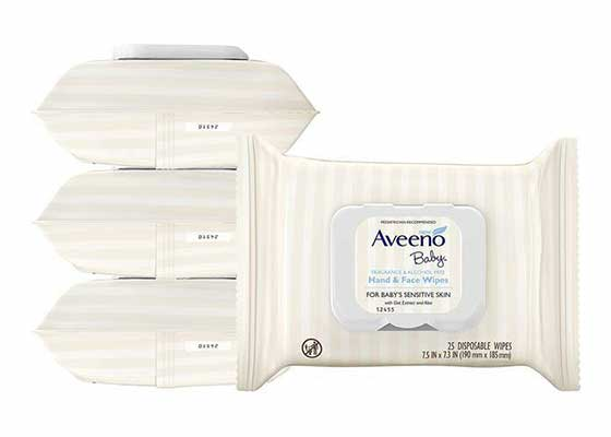 #3. Aveeno Baby 25 Count Fragrance-Free Baby Hand & Face Baby Wipes w/Oat& Aloe Extract