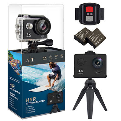8. Auto Tech 4K Waterproof Action Camera Includes 11 Mountings Kit and 2 Batteries