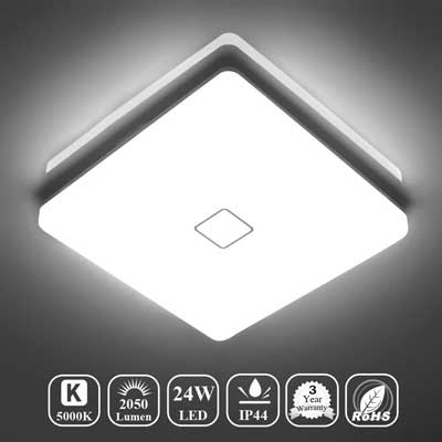 #3. Airand 5000K LED 24W 12.6-Inch No Flicker Ceiling Mounted Light 2050LM IP44 (Daylight white)