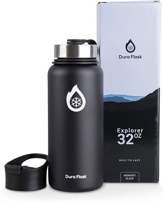 #9. DuraFlask Double –Wall 32 oz. Copper Dipped 18/8 Stainless Steel Insulated Water Bottle