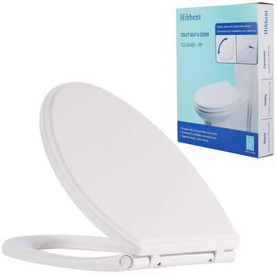 #7. Hibbent Premium Easy Installation Elongated Toilet Seat with Oval Cover - White Color