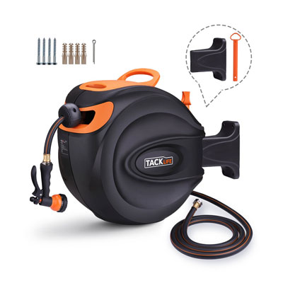 4. TACKLIFE Hose Reel, Wall Mounted and Retractable Hose Reel