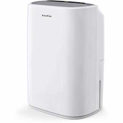 #5. Inofia 1050 Sq. Ft 30 Pints w/Continuous Drain Hose Outlet Dehumidifier for Home Basement