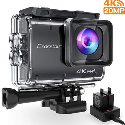 9. Crosstour HD 4K 20MP Action Camera with 2 Rechargeable Batteries &USB Charger