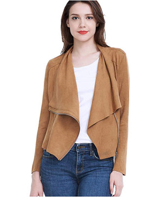 8. Fasbric Women's Leather Zipper Jacket (Spring, Autumn)