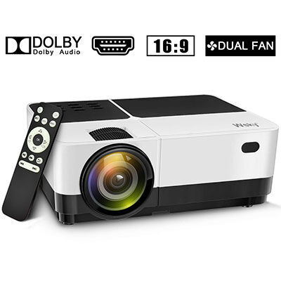 7. Wsky 2019 Outdoor Home Theater Projector, Compatible with Phone