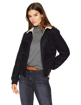 5. Levi's Women's Leather Sherpa Bomber Jacket