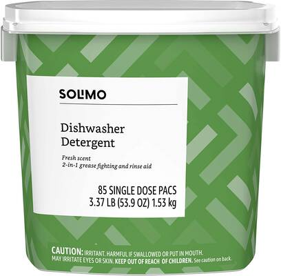 #2. Solimo 85 Count 2-in-1 Powerful Grease Fighting & Rinse Aid Fresh Scent Dishwasher Detergent