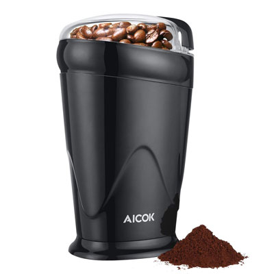 1. Aicok Coffee Grinder Electric, 12 Cup Spice Grinder, Black