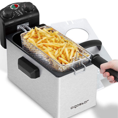 #7. Aigostar Ken Stainless Steel Electric Deep Fryer