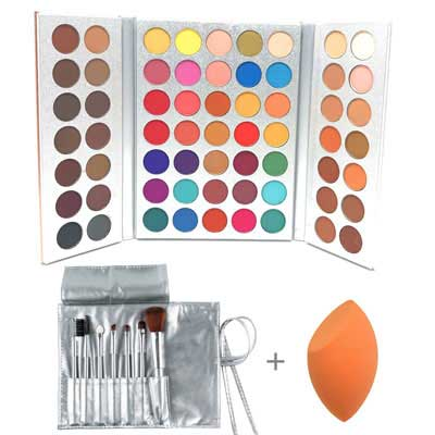 1. Beauty Glazed Eyeshadow Makeup - 63 Colors w/Professional Brushes Set