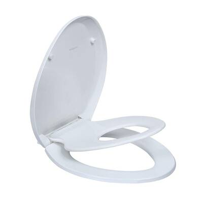 #4. WSSROGY Magnetic Kids Seat Elongated Toilet Seats for both Adult and Child, White