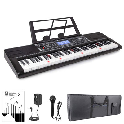 6. Vangoa VGK6200 Electronic Piano Keyboard - 61 Lighted Keys