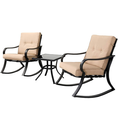 4. SOLAURA 3 Piece Outdoor Rocking Chairs Bistro set