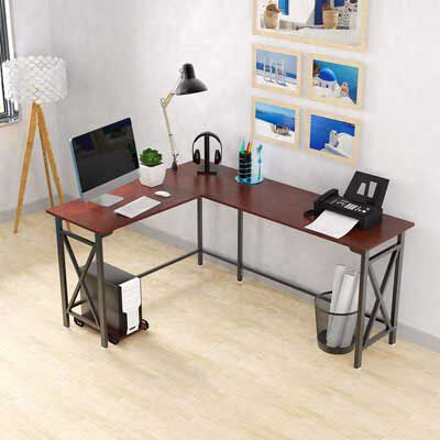 5. DEWEL 2-Piece Corner Laptop Table Home Office