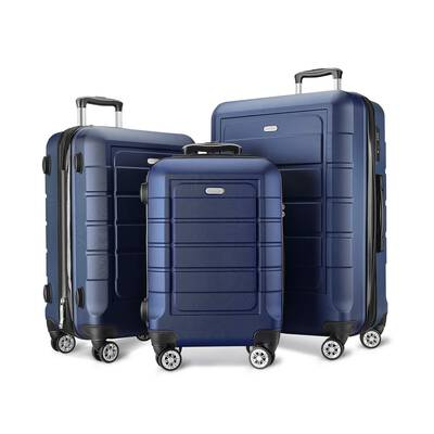 #6. SHOWKOO PC + ABS Durable Double Wheels 3-Pcs TSA Lock Expandable Luggage Set (Blue)