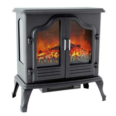 #4. FLAME&SHADE Portable Freestanding with Thermostat Electric Fireplace Heater (Black)