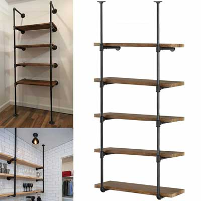 #7. Yuanshikj 2Pcs Industrial Wall Mount 5-Tier Open Bookshelf Storage Home Kitchen