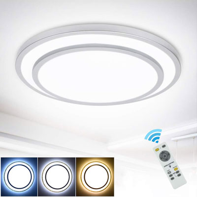 #7. DINGLILIGHTING 48W Dimmable LED 20-Inch 3000k-6000k Color Changeable Ceiling Mounted Light