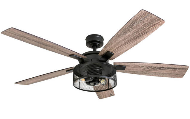 #5. Honeywell Carnegie Ceiling Fan 50614-01 52'' Rustic Barnwood Blades Cage Light (Matte Black)
