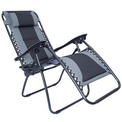 5. LUCKYBERRY Padded Zero Gravity Chair, Grey