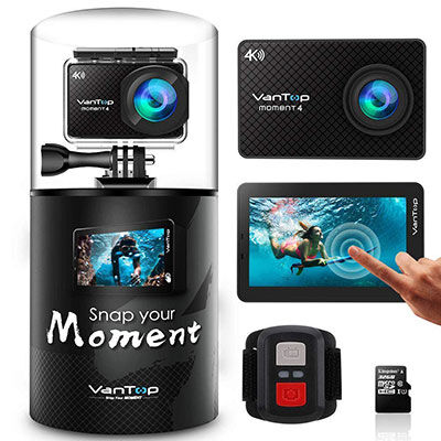 6. VanTop Action Camera with 32GB SD Card, Adjustable View Angle, and Dual Battery