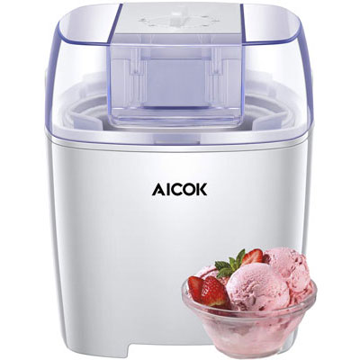 4. Aicok Ice Cream Machine with Instruction Book, White