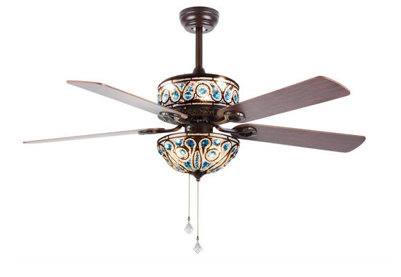#7. RainierLight Crystal 5 premium Wood 52'' Blades Ceiling Fan with Light for Bedroom