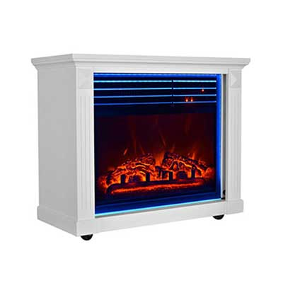#8. GMHome 23 Inche Moveable 7 Changeable Backlight 1500W Electric Fireplace (White)