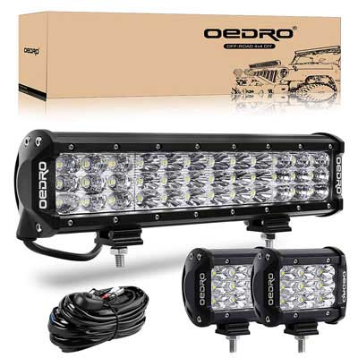 #3. OEdRo 180W 12'' Plus 2 Pcs 4In 27W Pod & Wiring Harness LED off Road Lights