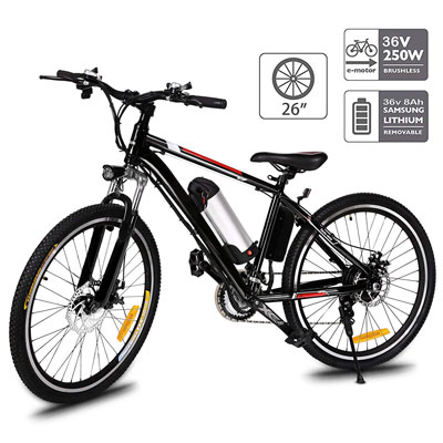 6. Aceshin 26 inches Mountain Bike with a Large Capacity Battery & 3 Working Modes