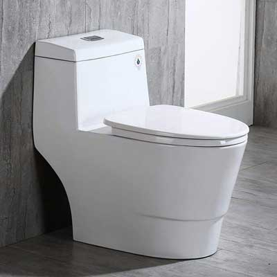 #7. WOODBRIDGE T-0019 Dual Flush Elongated High-Efficiency One-Piece Toilet (Cotton White)