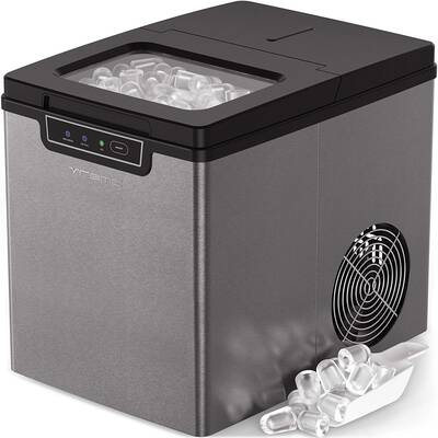#6. Vremi Portable Small Stainless Steel Countertop Ice Maker w/Basket & Ice Scoop (Silver & Black)