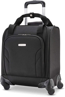 #6. Samsonite 14'' Under-seat Spinner II Luggage with Mesh Lining USB Port Smart Back Sleeve