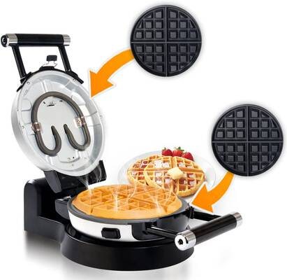 #2. Secura Upgrade Automatic 360 Rotating Non-stick Double Belgian Waffle Maker