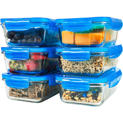 #6. Elacra Glass Food Storage Containers