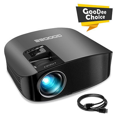 6. GooDee 200Inch Video Projector, Compatible with the Fire TV Stick