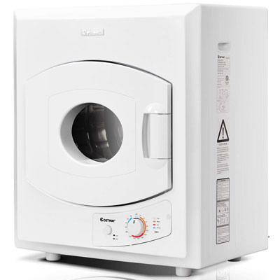 7. COSTWAY Compact Laundry Dryer - Stainless Steel (2.65 Cu.Ft.)