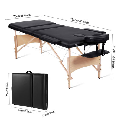 3. MaxKare Portable Massage Table, Extra Wide (3 fold)