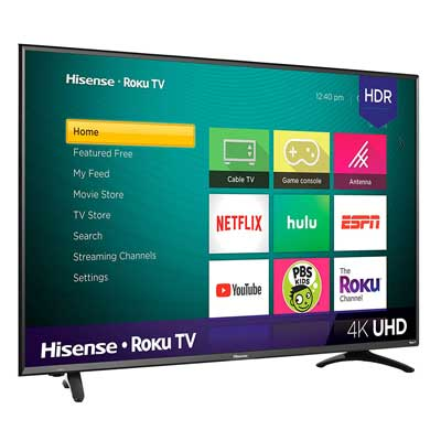 #8. Hisense 50R7E Series 4K Ultra-HD HDR Easy-To-Use Remote Roku 50 Inch Smart LED TV