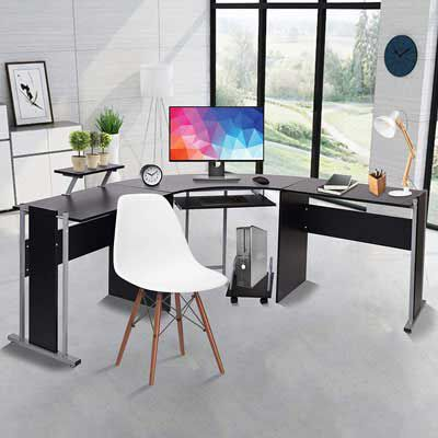 10. LUCKYERMORE 71 Inch L-shaped Computer Desk
