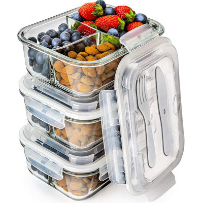 #9. Prep Naturals with three Compartments Glass Food Storage Containers