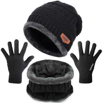 5. Maylisacc Winter Neck Warmer, Hat Touch Screen Gloves Set