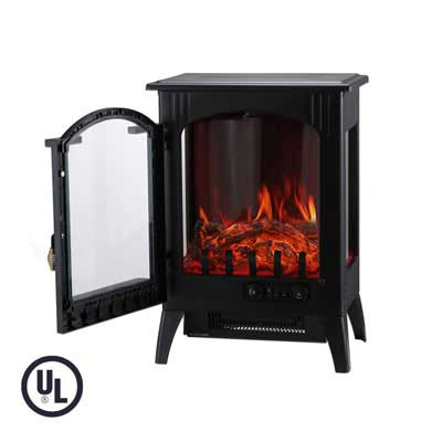 #9. KOOLWOOM Portable 3D Flame & Quiet Electric Fireplace Stove Heater (Black)