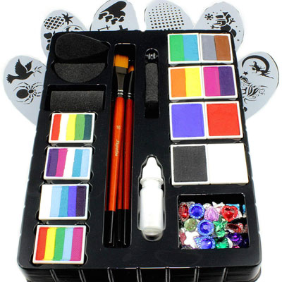 10. Kryvaline Face Paint Kit with Stencils and Brushes