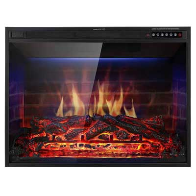 #3. Xbeauty 33 inch Electric Fireplace Multi-color Flames Remote Control 750w/1500w