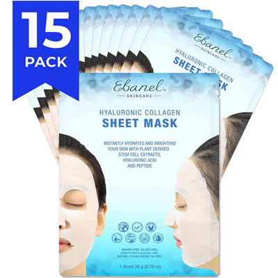 3. Ebanel Korean Collagen Face Mask Sheet, Anti-Aging and Anti-Wrinkle