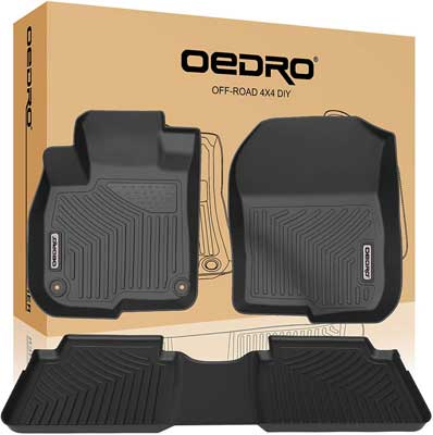 #1. OEDRO Floor Mats Unique Black All Weather Guard Compatible with All Honda Models